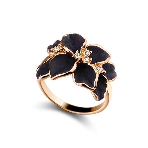 fashion rose flower enamel jewelry set gold color