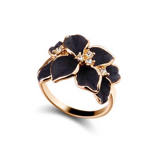 Mode Rose Blume Emaille Schmuck-Set Rose Gold Farbe Schwarz Malerei Braut Schmuck Sets für Frauen Hochzeit 82606