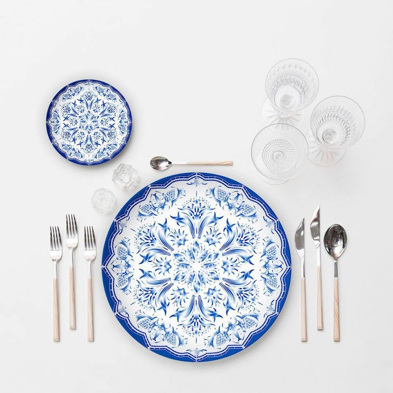 Lekoch China Style Dishes Bone China Ceramic Flat Steak Dinner Plates Tableware Plate Blue and White Porcelain Tableware