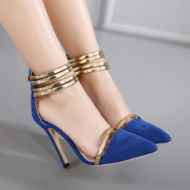 e8cb18d4f87 strappy sandals spring blue shoes pointed toe high heels Gladiator Sandals  Women heels shoes sapato feminino womens pumps D931