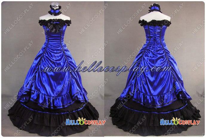 Southern Belle Lolita Ball Gown Wedding Blue Dress H008