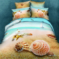 3D HD Sea Beach Shell Bedding Sets 100% Cotton Blue Marine Quilt Cover Set Double King Queen Size duvet cover sets bedclothes
