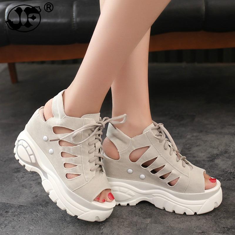 Women Sandals Hollow Slippers Slides Summer Sneakers Platform Wedges Women Elevator Shoes Hidden High Heels Sandalia Mujer 778
