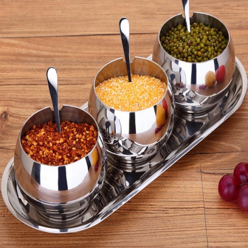 304 stainless steel condiment box creative Kitchen seasoning salt shaker spice jar