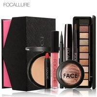 FOCALLURE 8Pcs Cosmetics Makeup Kit Powder Eye Makeup Eyebrow Pencil Volume Mascara Sexy Lipstick Blusher Cosmetic