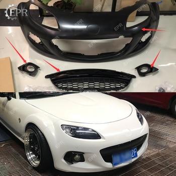 FRP Bumper For Mazda MX5 Roaster Miata NC3 OEM Glass Fiber Front Bumper Sets(3pcs) With Front Grille&Fog Light Cover Body Kit