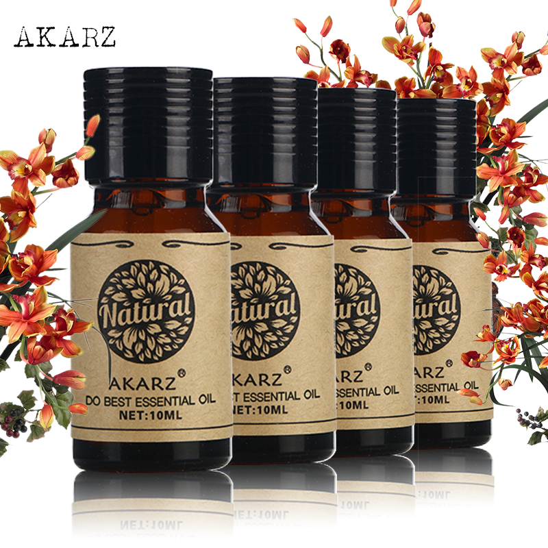 AKARZ Famosa marca Patchouli Sândalo Musk da árvore do Chá Pacote de Óleos Essenciais Para Aromaterapia, Massagem, Spa, banho 10 ml * 4