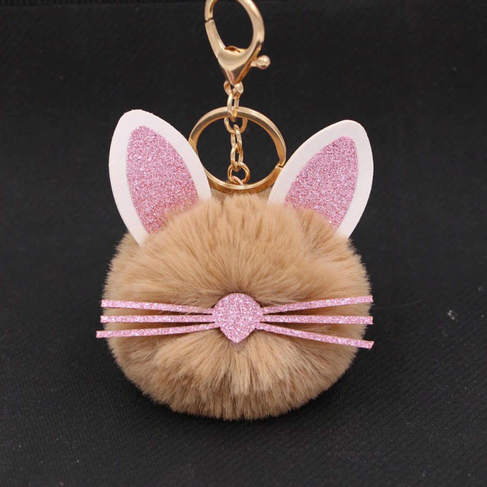 Orejas lindas mullidas barbas llavero gato pompón muchos colores elegir pompón de pelo de conejo falso llavero bolsa llavero de coche