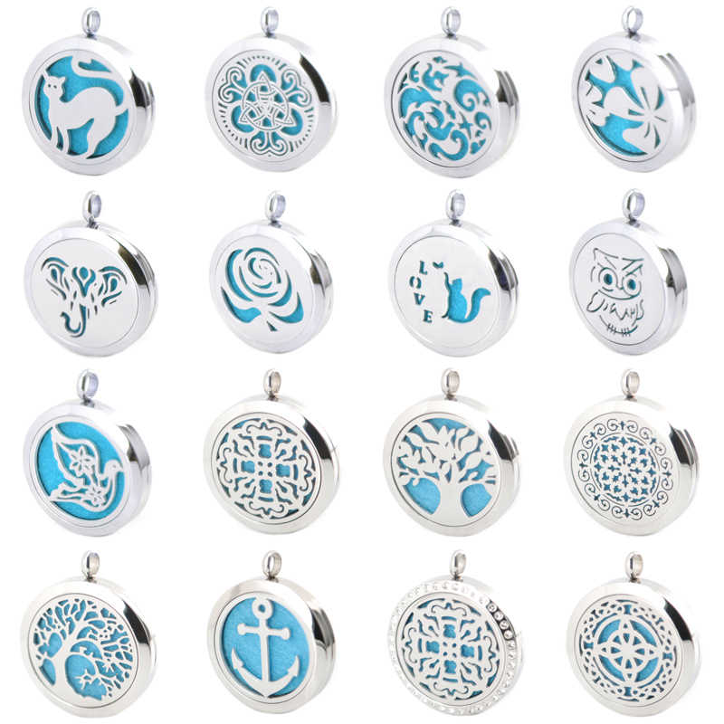 New Arrivev more than 25 styles Aromatherapy Essential Oil Surgical Stainless Steel Necklace Pendant Perfume Diffuser Locket