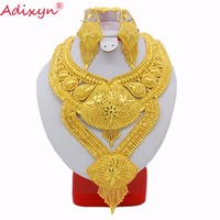 Adixyn Big Heavy Plus Size Necklace/Earrings Jewelry Sets For Women Gold Color Ethiopian Jewelry Luxury Wedding Gifts N03169