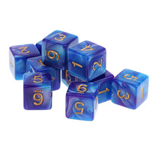 New Arrival Acrylic 10PCS / set D6-sidad tärningssats Polyhedral dys för Dungeons and Dragons Dice Game Entertainment