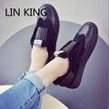 LIN KING New Fashion Women Casual Sheos Round Toe Slip-on Height Increase Single Shoes Thick Sole Cute Massage Ankle Shoes