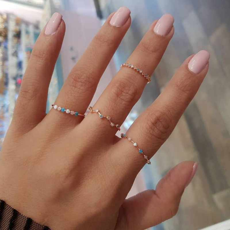 4 Pcs/set Vintage Colorful Crystal Stone Finger Rings Set Women Midi Kunckle New Fashion Party Wedding Jewelry Wholesale