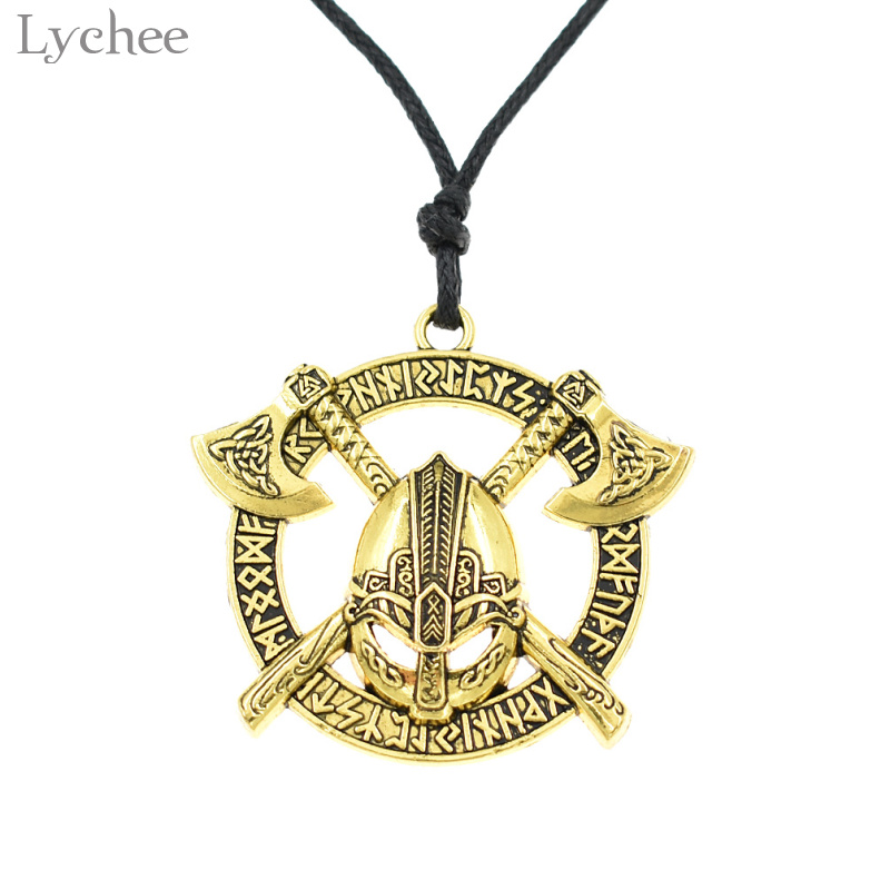 Pendant Necklaces Lychee Vintage Alloy Viking Axe Helmet Necklace Unisex Rope Chain Necklace Punk Style Jewelry For Men Women
