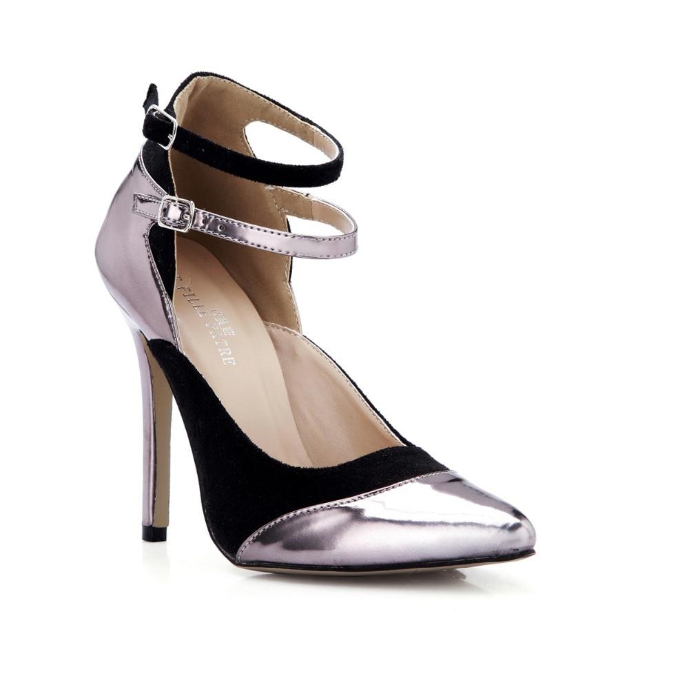 dea87e27 Nuevo 2016 sexy estilo de las mujeres bombas punta estrecha tobillo-correa  de verano patchwork acuden mujeres de cuero tacones altos zapatos de las ...