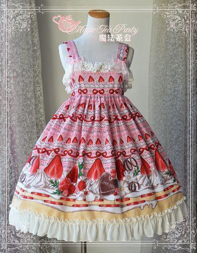 3a015d09d8dd Magic Tea Party Summer Girls High-waist Print Lolita Dress Cotton JSK Sweet  Palace Party