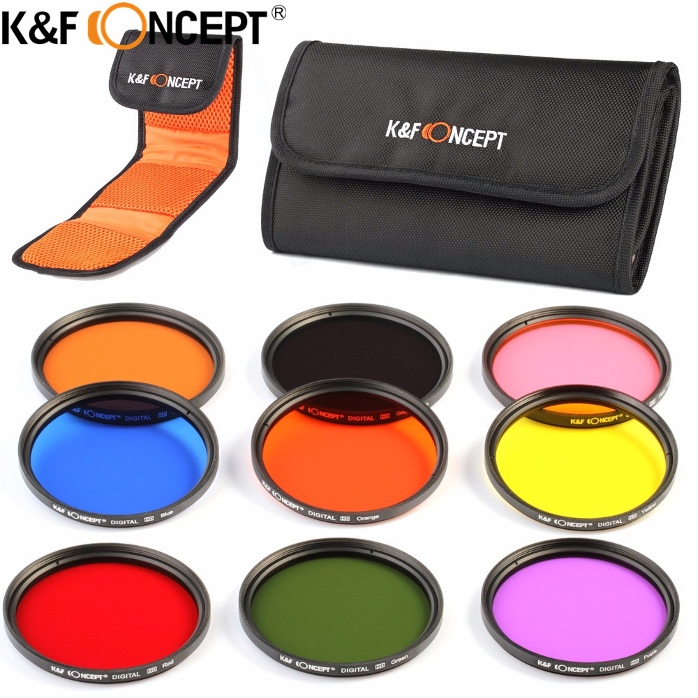 K&F CONCEPT 9PCS Lens 52/58/67mm Full Color(Orange Blue Grey Red Green Yellow Pink Purple Brown) Filter Kit+Pouch for Cameras