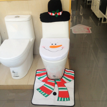 1set 3pcs Christmas Cute Scarf Snowman Toilet Seat Cover And Mat And Tank  Cover Bathroom Set Christmas Washroom Decoration 2017