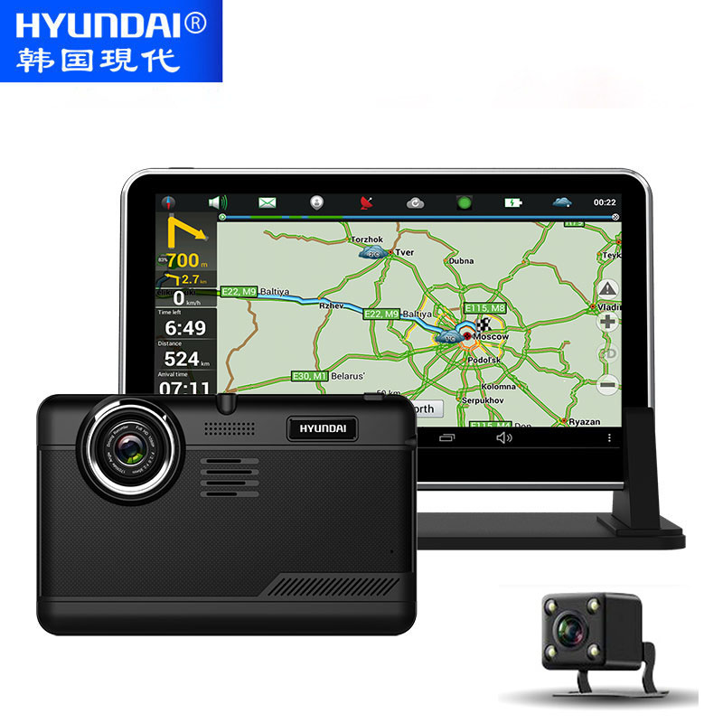 imágenes para HYUNDAI Android 4.4 GPS Navigator 7 Pulgadas IPS Pantalla Coche Grabadora DVR Dashcam Dvr Bluetooth WIFI Cámara de Vista Trasera Del Coche Libera El Mapa