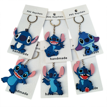цена 8cm 6 Style Stitch Series PVC figure Keychain Child Toy Anime Lilo Figure Model Car Key Chains Trinkets Pendant Phone Strap Gift в интернет-магазинах