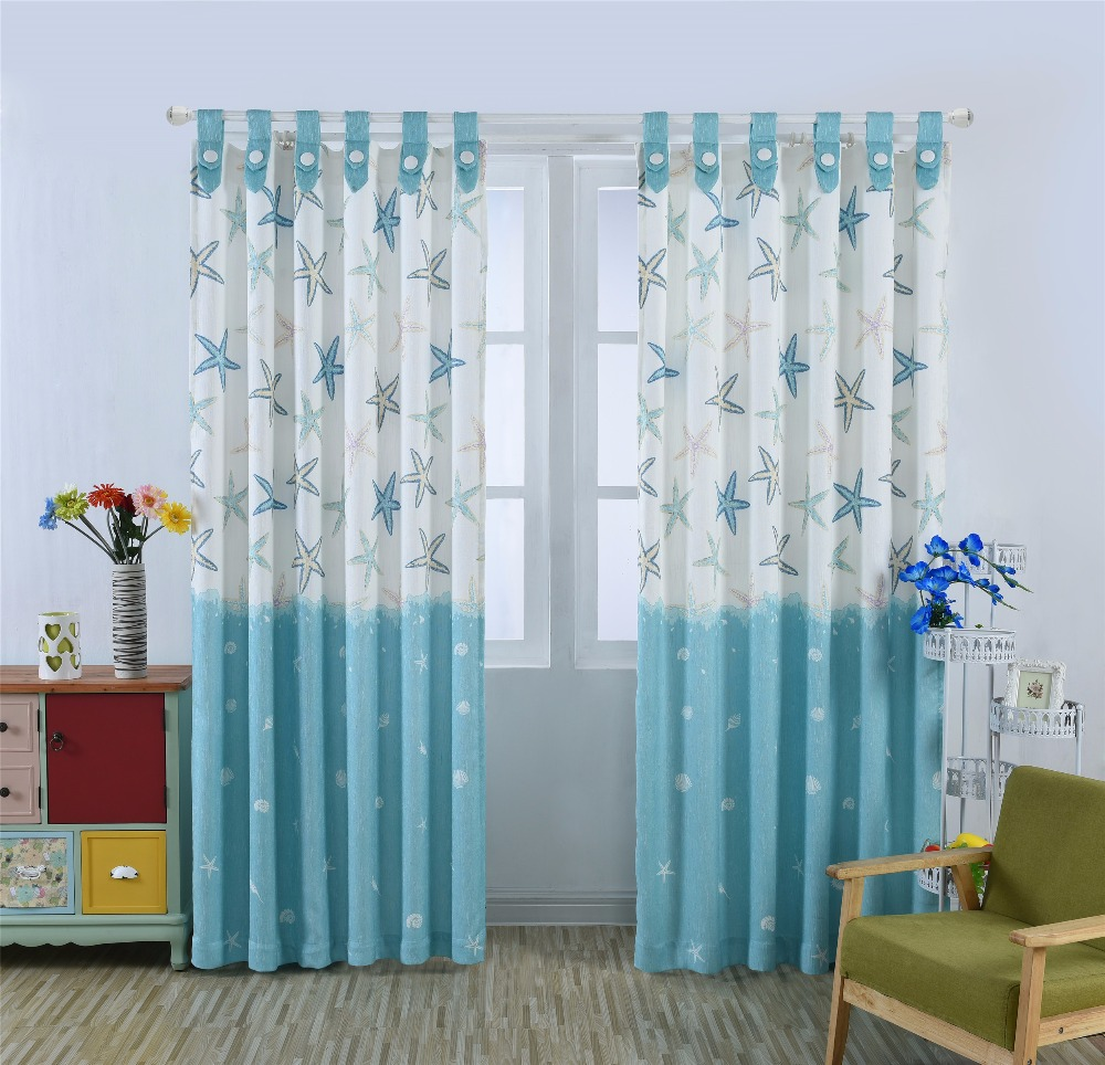 New Arrival Rustic Window curtains sea star cortinas top curtains for living room fabric Eco friendly curtains 1pcs
