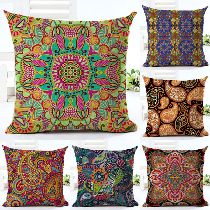 Ethnic Bohemian Style Cotton Linen Decorative Pillow Case Vintage Geometric Chair Seat Square Pillow Cover Home