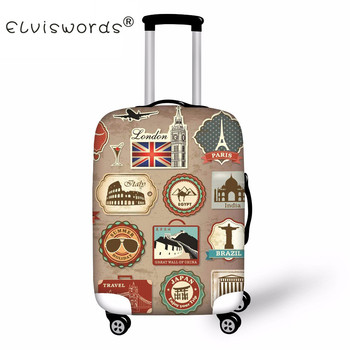 цена на ELVISWORDS Suitcase Cover Travel Luggage Cover On Road Dustproof Luggage Protector Spandex Protection Cover for Trolley Case