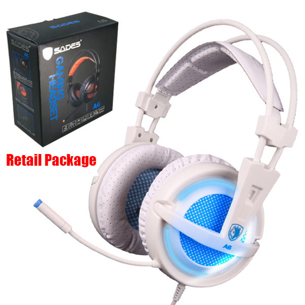 SADES A6 USB Gaming Headphones Professional Over-Ear Game Headset 7.1 Surround Sound Wired Mic for Computer PC Gamer 6