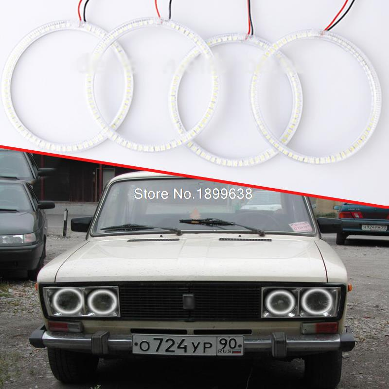 все цены на  4pcs/set Super bright 7000K white 3528 smd led angel eyes halo rings car styling For Lada Vaz 2106 1976 - 2001  онлайн