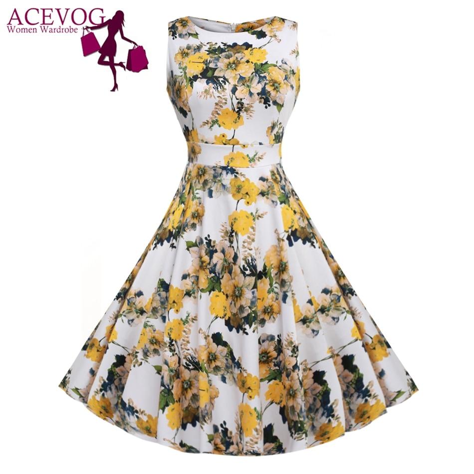 ACEVOG Vintage Swing Kleid Frauen 1950er 60er Jahre Retro Garden - Damenbekleidung - Foto 1