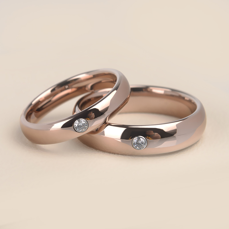 Romantic Bands: Romantic Dome Band Rose Gold Tungsten Couples' Rings With