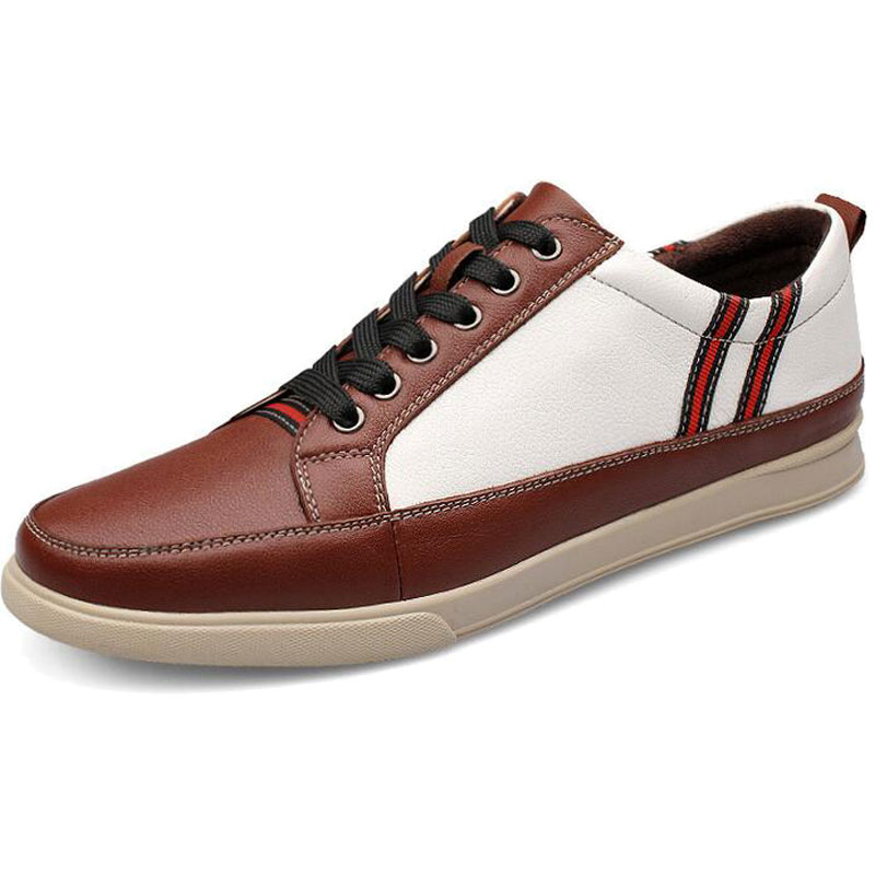 ФОТО Good Quality Plus Size 45 46 Men Genuine Leather Shoes 2016Spring Casual Shoes Fashion Patchwork Waterproof Man's Flats