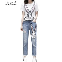 2019 Summer Women White Sequins T Shirts Pants Suits Casual Cartoon Printed Cotton Tshirt And Hole Denim Trousers Set