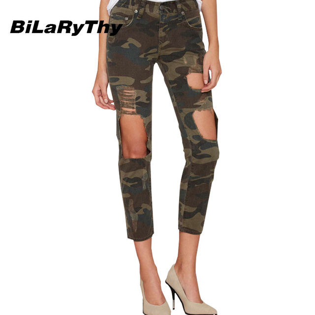 BiLaRyThy Fashion Women Straight Camo Ankle Length Denim Pants Casual Loose Ripped Holes Army Green Camouflage Jeans
