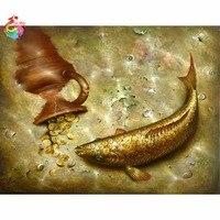 5D Diy Diamond Painting Full Round Diamond Embroider Golden Fish Mosaic Cross Stitch Handicrafts Home Decoration