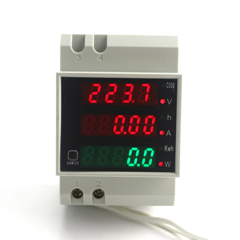 Din Rail Dual Display LED Ammeter Voltmeter AC 80-300V 0-100.0A Voltage Current Power Time Energy Tester 4 Digits 3 IN 1 image