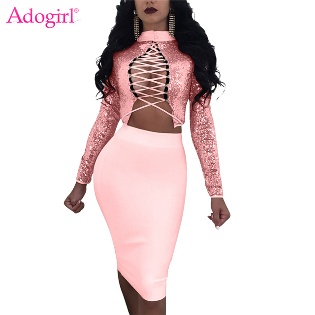 Adogirl 2018 New Sequins Two Piece Dress Set High Neck Long Sleeve Lace Up Crop  Top Bandage Midi Club Party Dresses Vestidos 6bc31ae45fb7