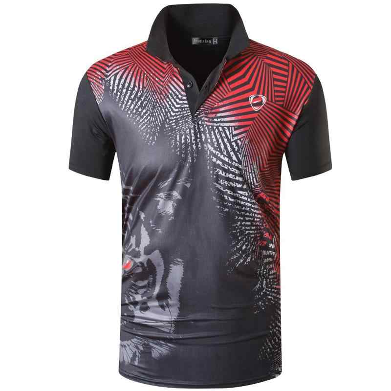 jeansian Men's Sport Tee Polo Shirts Poloshirts Casual Wear Golf Tennis Badminton Dry Fit Short Sleeve LSL265 Black