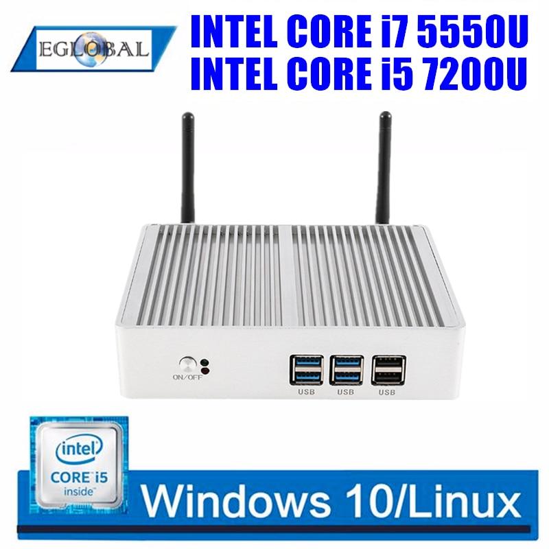 EGLOBAL Fanless Nuc Intel i7 i5 7200U i3 7100U DDR3L Memory Mini PC Windows 10 Linux