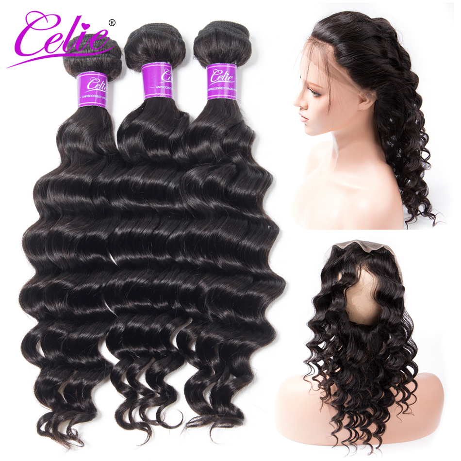 Celie Hair Loose 360 Frontal With Bundles 4Pcs Lot Natural Black Loose Deep Wave Bundles With
