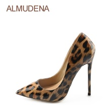 hot deal buy almudena celebrity luxurious brand thin high heel pumps leopard printed pointed toe party shoes wedding shoes dropship pumps