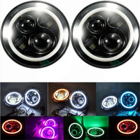 7 LED Headlight With Red Yellow Amber White Green Blue Pink Halo Angel Eye Ring Turn