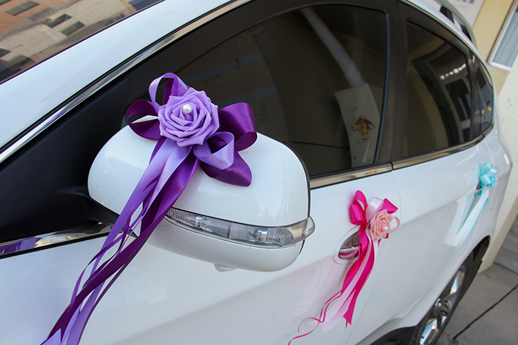 Wedding car decoration wedding flower 8 colors car door handles and wedding car decoration wedding flower 8 colors car door handles and rearview mirror decoration free shipping in artificial dried flowers from home junglespirit Gallery