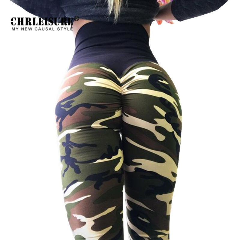 CHRLEISURE Push Up Camo Printed Leggings Women Polyester 4 Colors High Waist Legging Comfortable Workout  Girl Legging