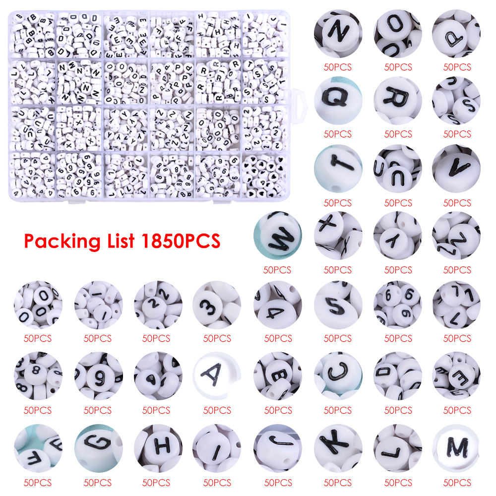Roblue 1850PCS Acrylic Letter Beads A-Z Letter and Number Beads Round Alphabet Letter Beads for Jewelry Making Bracelets Necklaces and Key Chains 7x4mm