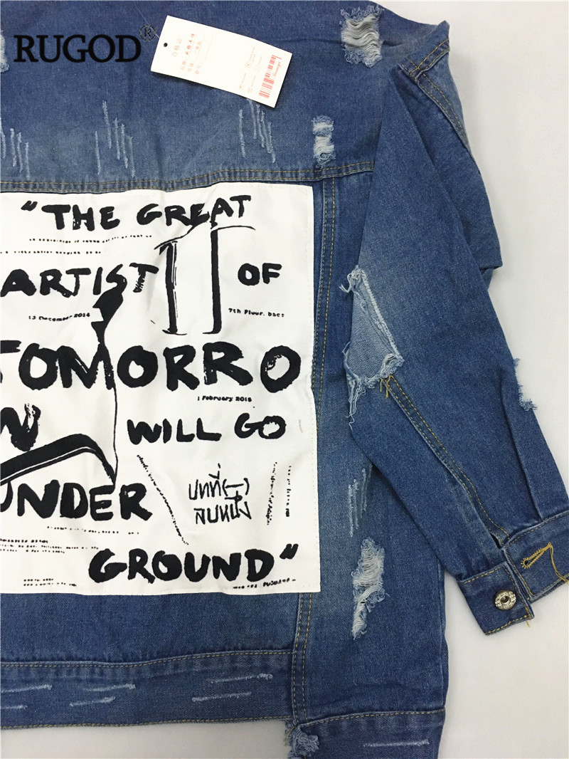 HTB142ofVVzqK1RjSZFvq6AB7VXa6 RUGOD Basic Coat Bombers Vintage Fabric Patchwork Denim Jacket Women Cowboy Jeans 2019 Autumn Frayed Ripped Hole Jean Jacket