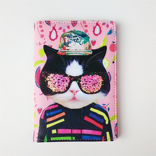15642cd37 De moda Rosa gato del Pasaporte de cuero de la PU cubierta Porta Pasaporte  postales Pasaporte