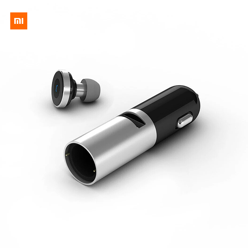 Xiaomi CooWoo Aluminium Alloy Wireless Bluetooth 4.0 Earphone Handfree Call Headset and Car Charger 2 In 1 For Android IOS Phone bq638 2 in 1 wireless bluetooth 4 1 headsets car charger in car headphone car kit earphone hands free calling for iphone android