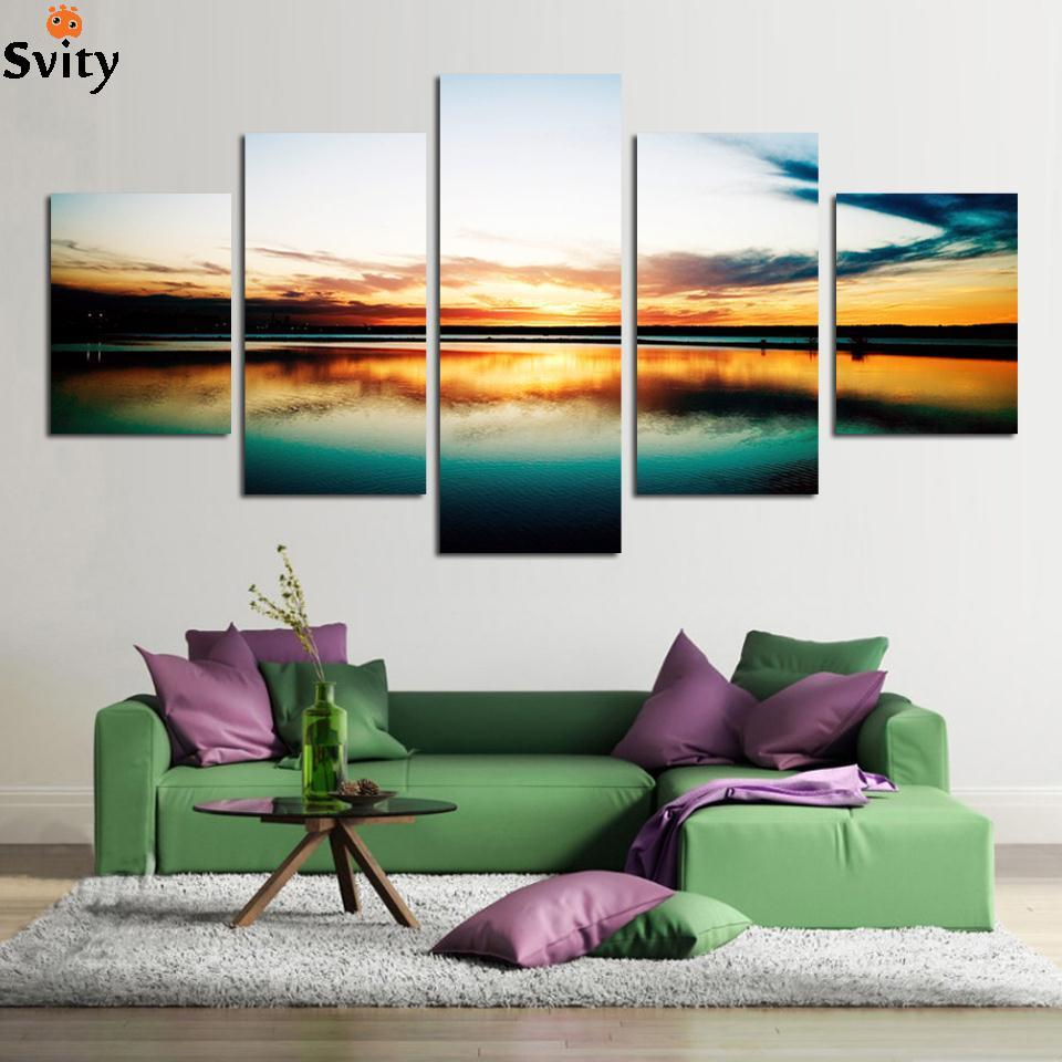 Fashion 5 piece large canvas art cheap painting modern for Living room 12x16