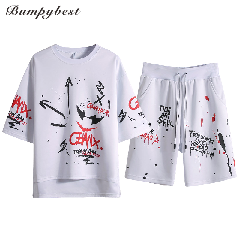 Bumpybeast 2 Piece Set Short-Sleeved Mens Summer Sportwear Sets Outwear Sweatshirts Men  ...
